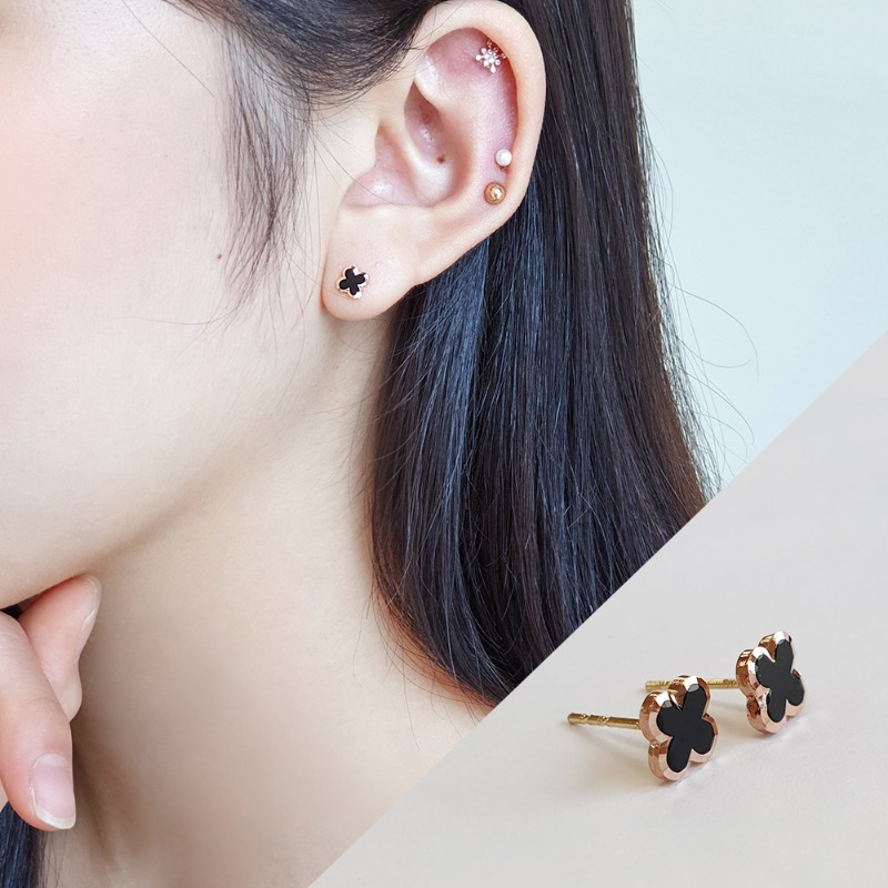 14k black clover earrings